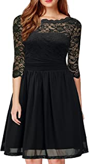 aec8c55085 DILANNI Women s Vintage Formal Floral Lace 3 4 Sleeve Cocktail Party Tube  Dress