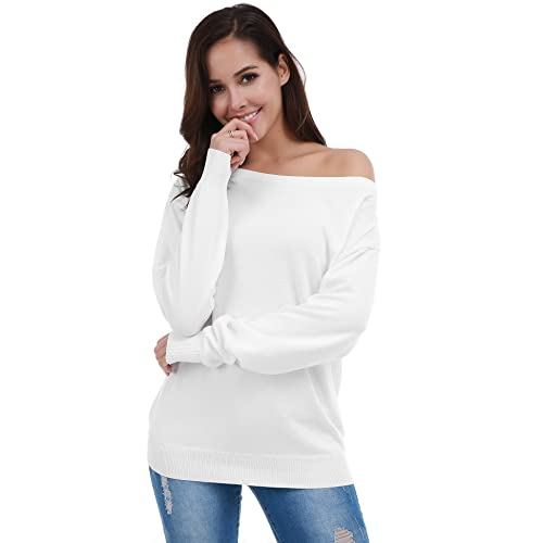 b50262bd89df7 FISOUL Women s Casual Off Shoulder Sweater Long Sleeve Knit Pullover