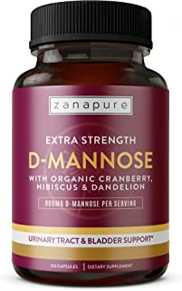 D-Mannose Capsules with 800MG D-Mannose Powder Per SVG | Organic Cranberry & Hibiscus, Fast Effective Relief for UTIs, Urinary Tract Cleanse & Bladder Health Support, Ultimate Cleanse, 60 Vegan Svgs