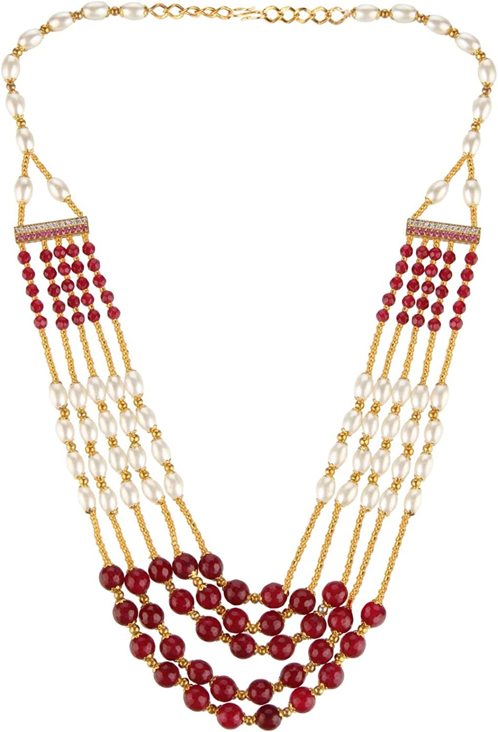 Efulgenz Indian Multi Layered Bollywood Faux Ruby Pearl Beads Wedding Bridal Strand Necklace Jewelry for Women Girls