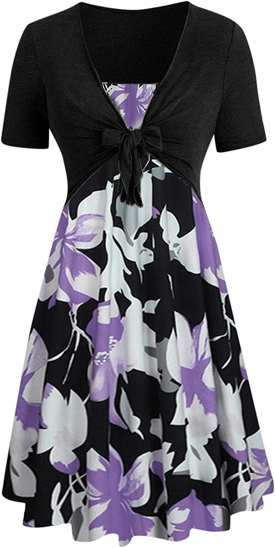 Gerichy Summer Dresses for Women, Womens Summer Floral Dress Spaghetti Strap Sleeveless Casual Beach Swing Midi Sundress