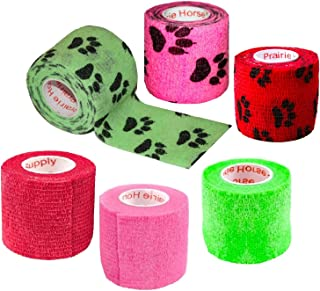 2 Inch Vet Wrap Tape Bulk (Assorted Colors) (6, 12, 18, or 24 Packs) Self-Adhesive Self Adherent Adhering Flex Bandage Rap Grip Roll for Dog Cat Pet Horse