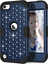 iPod Touch 6th/5th Generation Case, iPod Touch 6/5 Case, Hocase Bling Sparkle Glitter Shockproof Silicone Heavy Duty Protective Hard Case for iPod Model A1574/A1509/A1421 - Midnight Blue/Black