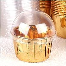 100 pcs Mini Cupcake Cover Transparent Aluminum Foil Baking Cake Cup Wrapper Holder Pastry Cake Decorating Tool (Color : G...