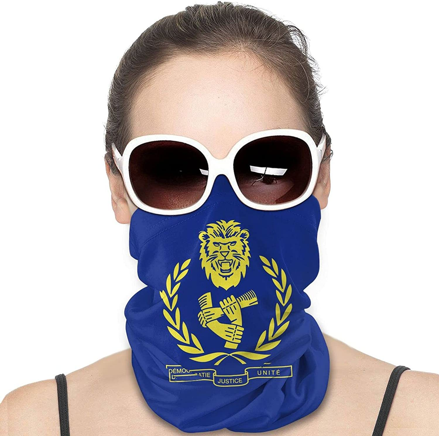 Emblem of the Democratic Republic of the Congo Round Neck Gaiter Bandnas Face Cover Uv Protection Prevent bask in Ice Scarf Headbands Perfect for Motorcycle Cycling Running Festival Raves Outdoors