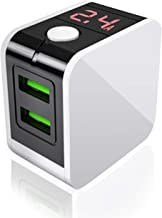 USB Wall Charger, Digital Dual USB Ports Charger, 2.4A USB Power Adapter with Foldable Plug and LED Display for iPhone/Samsung Galaxy/Huawei/iPad Pro and Other Charging Devices