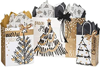 Christmas Gift Bags Assorted Sizes Bundled with Coordinating Tissue Paper and Raffia Ribbon (Christmas Golden Holiday Trees)