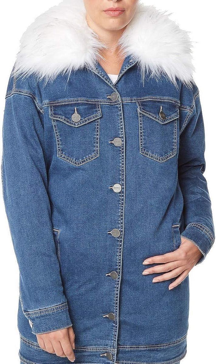 BUFFALO DAVID BITTON Women's Blue Faux-fur-trim Parka Denim Jacket Top