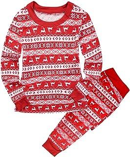Pijama navideño Conjunto de Dos Piezas de Reno Rojo y Nieve Navidad Ropa de Dormir para papá mamá niños bebé