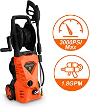 WHOLESUN 3000PSI Electric Pressure Washer 1.8GPM 1600W Power Washer with with Hose Reel and Brush Orange
