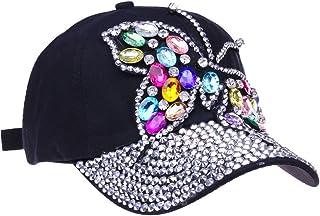 20639d4742c CRUOXIBB Butterfly Baseball Cap Women Crystal Rhinestone Snapback Caps  Distressed Denim Jeans Hat