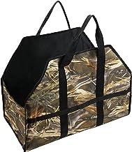 Saco de madeira para lareira 45 * 61 * 29 cm Lona Lenha Saco de transporte Suporte ao ar livre para acampamento Carregar s...