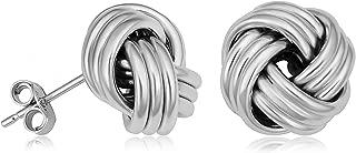 Kooljewelry 14k White Gold Classic Love Knot Stud Earrings Minimalist Jewelry, 11 Mm