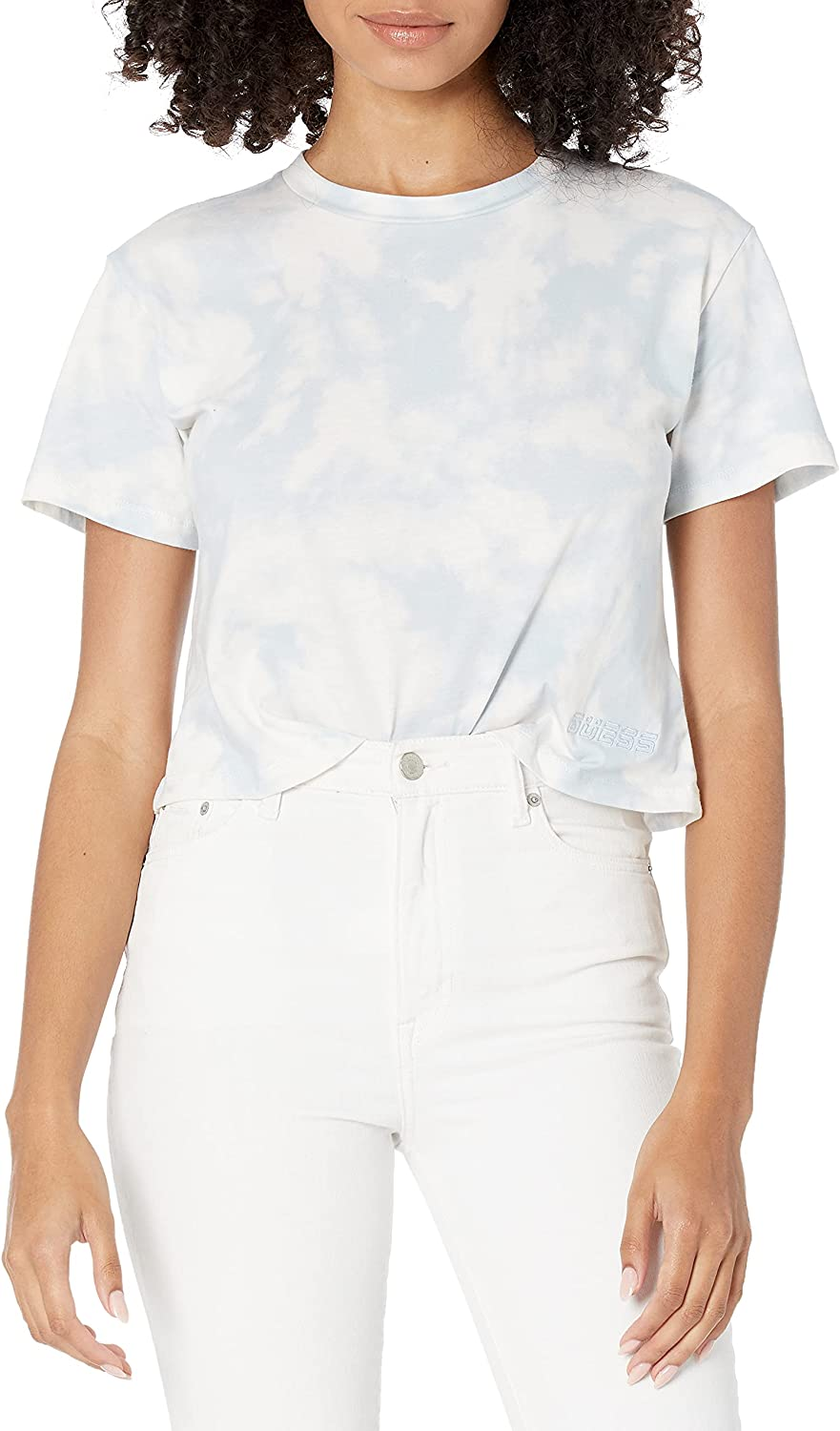 GUESS Women's Active Short Sleeve 別倉庫からの配送 Print 保障 T-Shirt Croped Marble