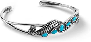 Sterling Silver Blue Lapis, Red Coral or Sleeping Beauty Turquoise Gemstone Floral Leaf Cuff Bracelet Size S, M or L