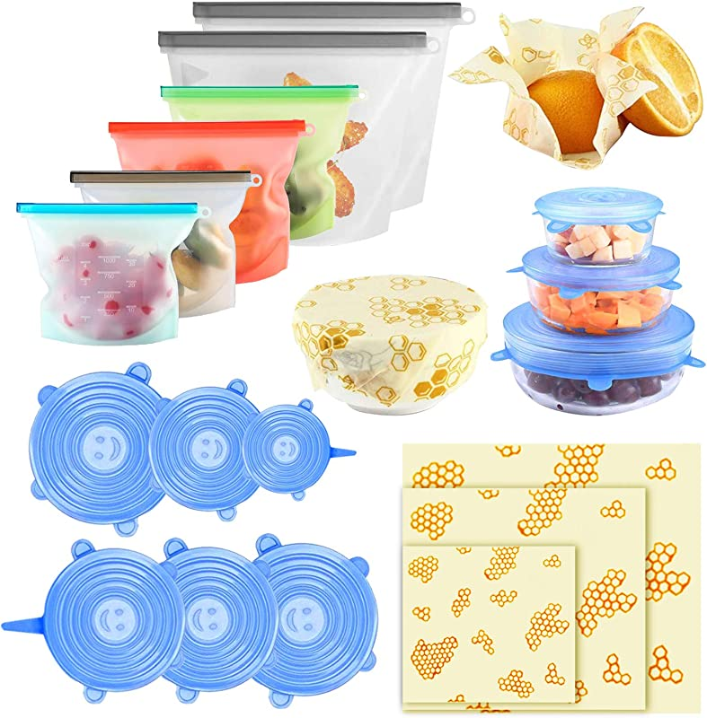 15 Pack Beeswax Wrap Silicone Food Storage Bag Silicone Stretch Lids Eco Friendly Reusable Food Wraps And Covers Airtight Seal Food Preservation Bags For Vegetable Fruit Snack Lunch