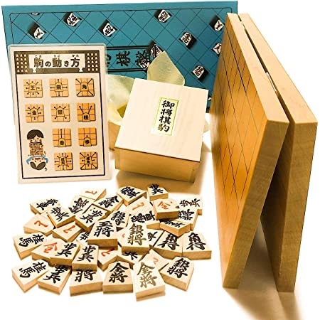 将棋セット 新桂5号折将棋盤と楓(かえで) 押彫将棋駒【鈴花堂オリジナル駒の動き方カード付】