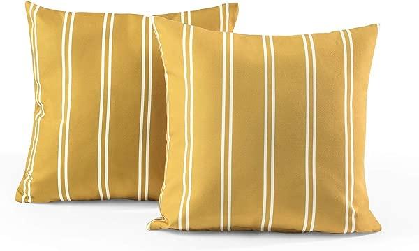 Tecoria Mustard Candy Stripe Outdoor Pillow Set