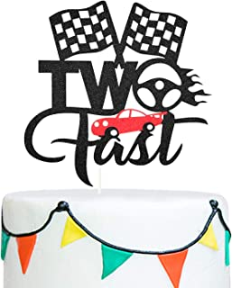 Two Fast Cake Topper Funny 2nd Birthday Cake Banner Topper, Little Boy 2 Years Old Birthday Party Decoration Supplies Cart...