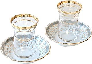 チャイグラス(チャイバルダック)2客セット/Cay Baldagトルコお土産 (パパテヤ・トルコブルー)