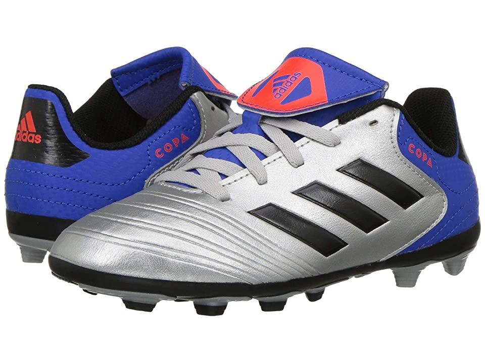 adidas Kids Copa 18.4 FXG Soccer (Little Kid/Big Kid) (Silver Metallic/Black/Blue) Kids Shoes