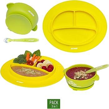 cuchara de beb/é Avanchy gran set de regalo para beb/és rosa rosa no se colocan en platos de bamb/ú cl/ásicos divididos Platos de alimentaci/ón con ventosa para beb/és y ni/ños peque/ños