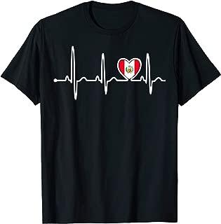 Peru Country Flag Heartbeat Pride Tshirt
