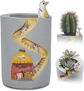 ChasBete Cute Flower Pots Indoor Rabbit Garden Planters Creative Resin Plants Pots/Brush Pot Small Decorative Reusable