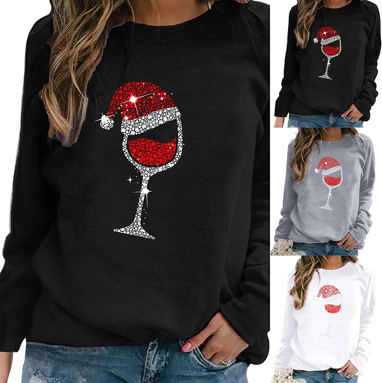 Women's Christmas Hoodies Fashion Wine Glass Printed Pullover Tops Casual Long Sleeve Crewneck Sweatshirts