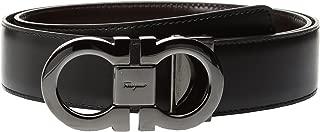 Salvatore Ferragamo Men's Double Gancini Adjustable and Reversible Belt-679535 Black/Auburn Belt