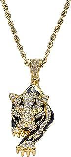 Hiphop Necklace, مثلج من النمر قلادة 18 كيلو مطلية بالذهب بلينغ تشيكوسلوفاكيا مقلد الماس الهيب هوب قلادة للرجال النساء