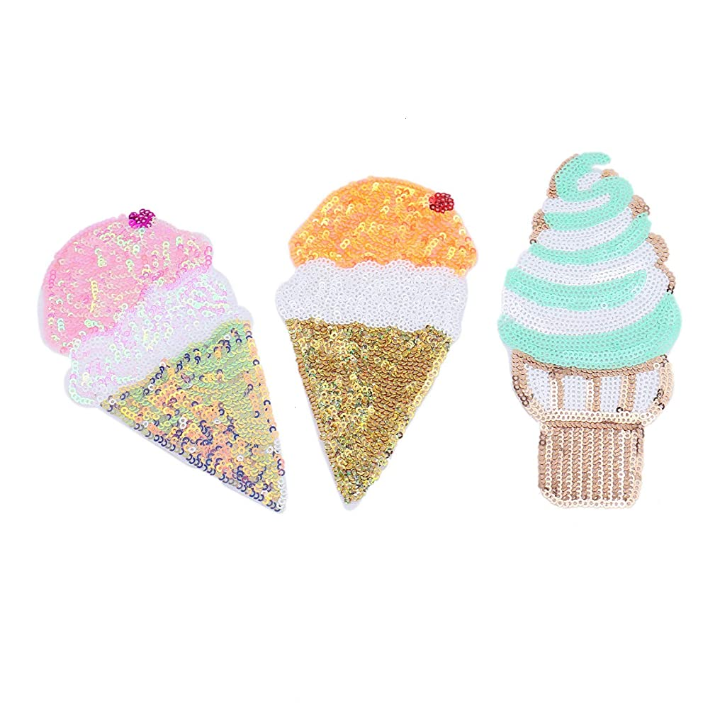 Monrocco 3 pcs Sequin Ice Cream Patch Summer Embroidered Iron On Patches Sew On Applique Patch for Clothes DIY Patches Sewing Accessories