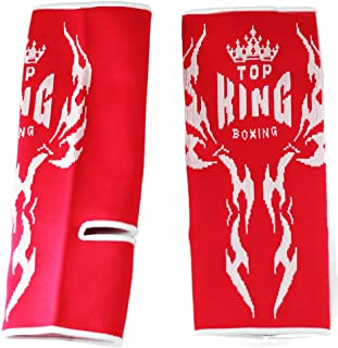 Top King Professional Elasting Ankle Wraps Support Guard for Training and Competition TKANG-02 Size L (Red/White Knit)