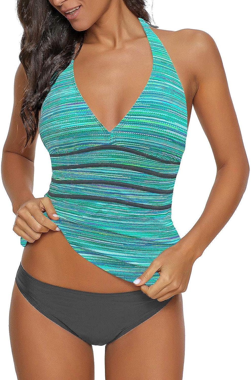 GRAPENT Women Halter V Neck Print Panel Open Back Two Piece Tankini Set Swimsuit