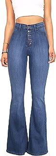 Women's Juniors Trendy High Waist Slim Denim Flare Jeans Bell Bottom Pants
