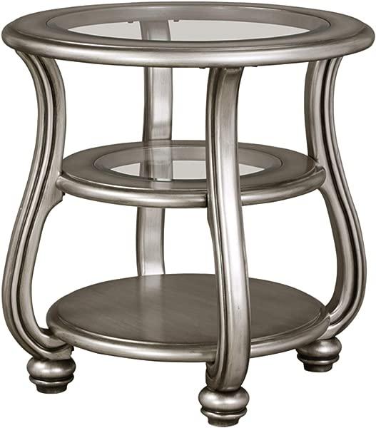Ashley Furniture Signature Design Coralayne End Table Traditional Exquisite Design Silver Finish