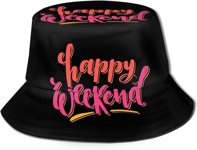 Sunburst Coloful Happy Weekend Greeting Bucket Hats Beautiful Summer Travel Beach Sun Hat Black