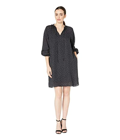 B Collection by Bobeau Yvonne V-Neck Ruffle Dress (Black/Lilac Dot) Women