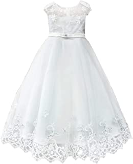 fd2a7a515 Petite Adele Big Girls White Floral Embroidered Junior Bridesmaid Dress 8-16