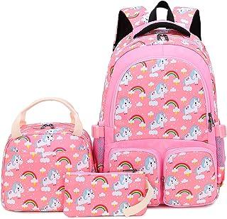 Backpack for Girls,BTOOP School Bookbag Backpacks set with Lunch Bag and Pencil case Kids Travel Daypack (Pink Rainbow)