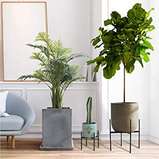 """Mid-Century Metal Plant Stand, Weather Resistant, Indoor and Outdoor Planter Stand - Large (13.5""""L X 13.5""""W X 18""""H)"""