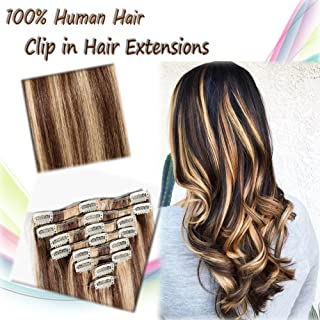 Double Weft Clip in Human Hair Extensions 20 inch Long/105g 100% Remy Human Hair 8pcs Full Head Two Tone Dip-dye Colors Medium Brown Mixed Strawberry Blonde (#4/27)