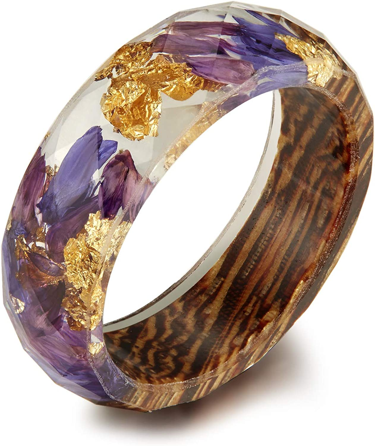 qanyue Geometry Super intense SALE Section Diamond Cut Gold with Foil Insided Ring free shipping