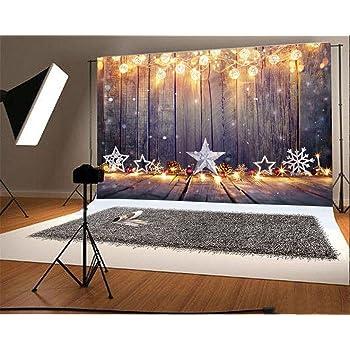 WaW 7x5pieds No/ël Photographie Toile de Fond R/étro Mur en Bois Fond Paillettes Lumi/ère pour Photo Studio D/écors de No/ël 2.2x1.5m