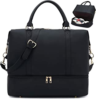 Travel Duffel Bag Weekender Overnight Bag Sports Tote Gym Bag for Women and Men (D PU membrane Black)