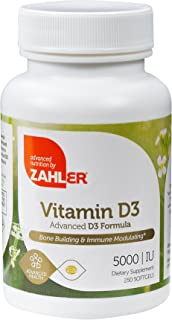 Zahler Vitamin D3 5,000IU, All-Natural Supplement Supporting Bone Muscle Teeth and Immune System,Advanced Formula Targeting Vitamin D Deficiencies, Certified Kosher, 250 Softgels