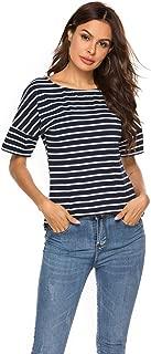 POGT Women's Casual Raglan Short Sleeve Patchwork Striped Cotton Shirts Loose T-Shirt Tunic Tops