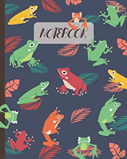 Notebook: Cute Frogs Cartoon Cover - Lined Notebook, Diary, Track, Log & Journal - Gift for Kids, Teens, Men, Women (8
