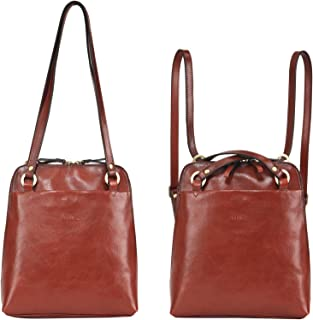 Fashion Convertible Small Women Backpack Purse Vintage Full Grains Italian Leather Purse Ladies Shoulder Bag Travel Daypack Brown