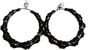 Clip-on Earrings Bamboo Black Hoop Earrings 4 inch Hoops